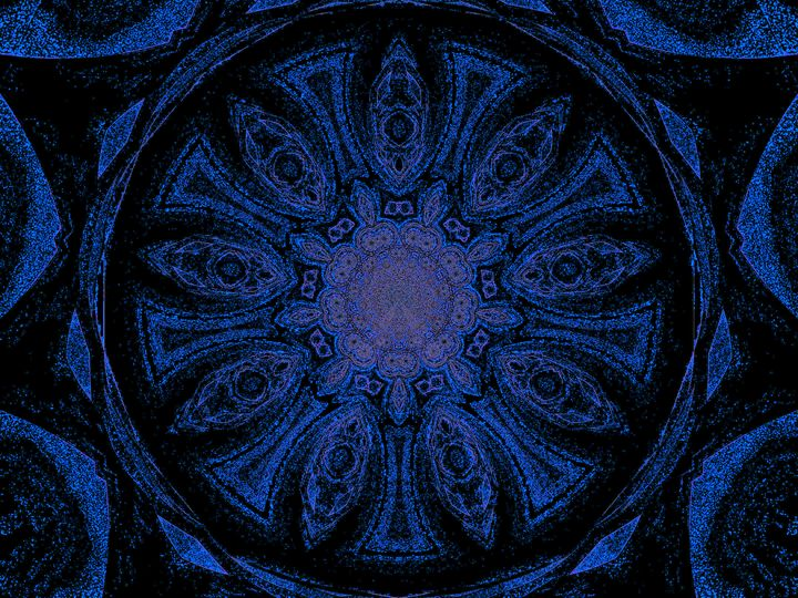 Blue and Black Lotus Petal Mandala - Sherrie D. Larch