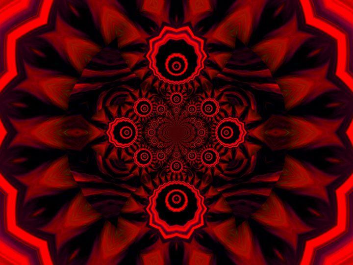 Light Storm Red Mandala 3 - Sherrie D. Larch