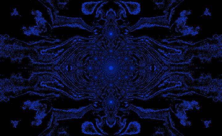 Lotus Mandala in Black Blue Pastels - Sherrie D. Larch