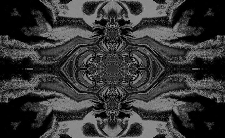 Lotus Mandala in Black Gray Pastels2 - Sherrie D. Larch