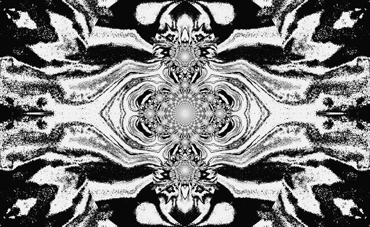 Lotus Mandala Black White Pastels2 - Sherrie D. Larch