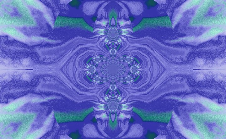 Lotus Mandala Purple L Green Pastels - Sherrie D. Larch