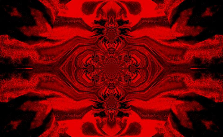 Lotus Mandala in Red Black Pastels - Sherrie D. Larch