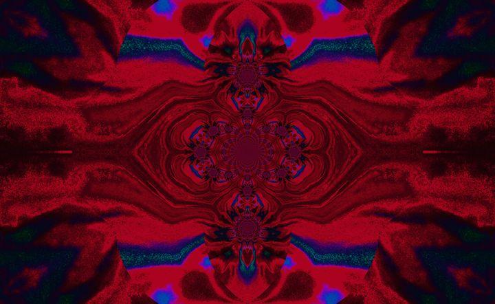 Lotus Mandala in Red Blue Pastels - Sherrie D. Larch