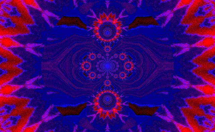 Lotus Mandala in Blue Red Pastels - Sherrie D. Larch