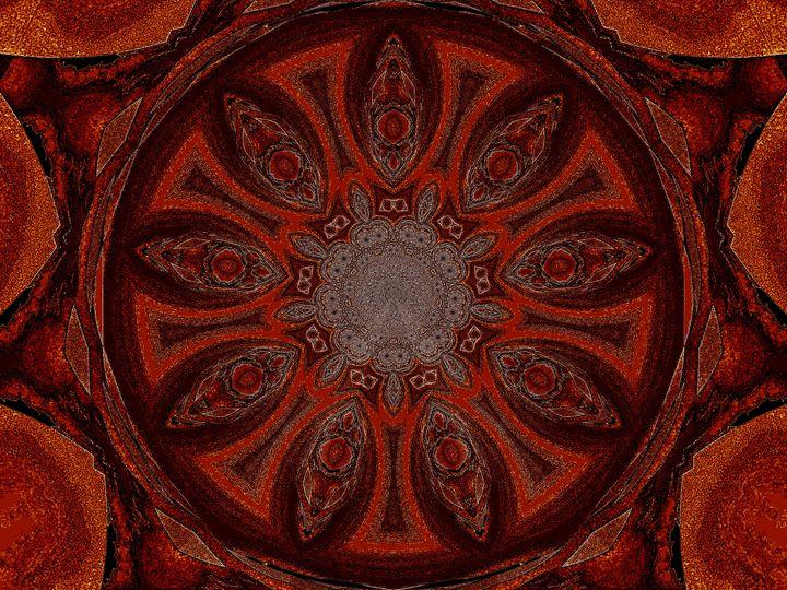 Orange and Brown Lotus Petal Mandala - Sherrie D. Larch