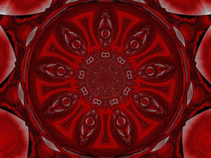 Red Lotus Petal Mandala - Sherrie D. Larch