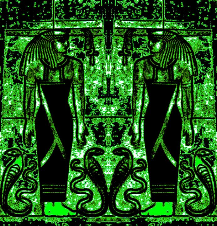 Egyptian Priests and Cobras Green 1 - Sherrie D. Larch