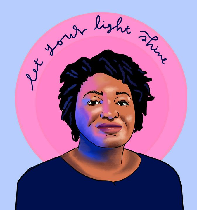 Stacey Abrams Let Your Light Shine - eejayheart | EJ Huston Art