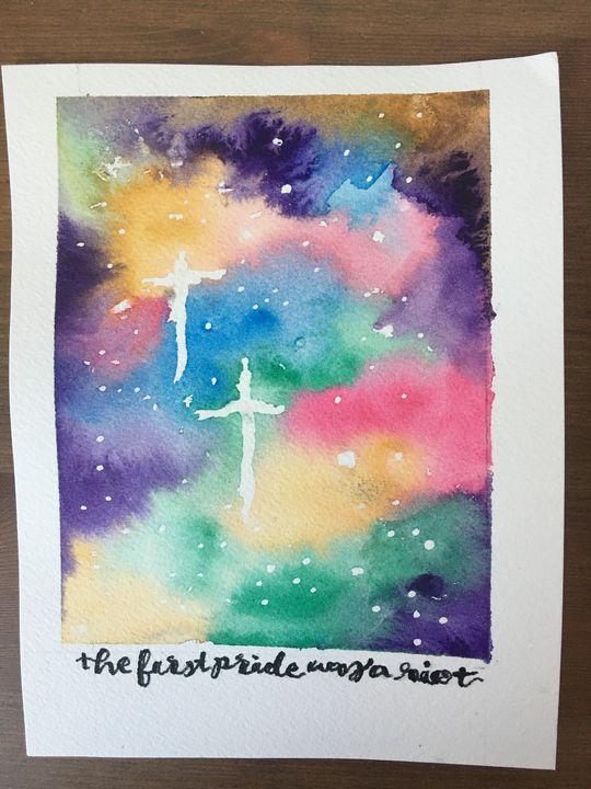 Gay Pride Galaxy Original Watercolor - eejayheart | EJ Huston Art