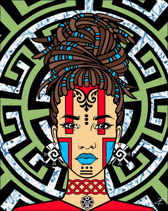 Mayan Afro-Queen by Jesse Raudales - Jesse Raudales