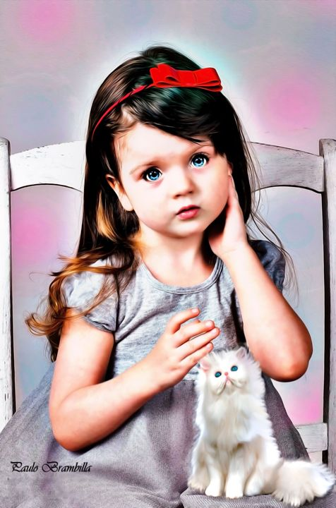 The little girl with her kitten! - Paulo Brambilla