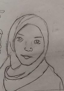Muslim girl drawing