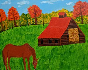 Horse by the barn - PaintStopByNandini