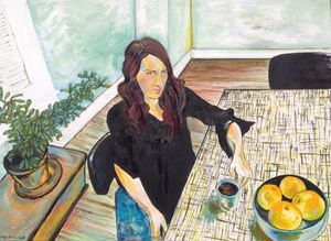 Woman with Coffee and Oranges