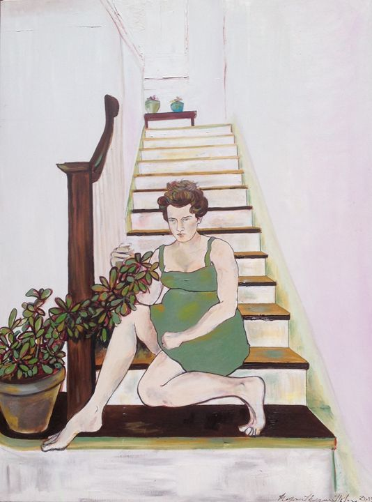 Woman with Plant on Stairs - MeganMorganHulme.com
