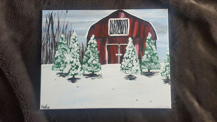 Rustic Winter Barn - K.C. Art