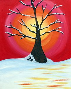 Snow Tree with Sunshine