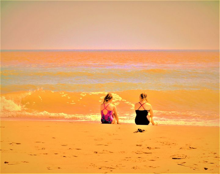 two girls on a beach - James Anthony Mullan