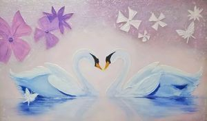 Swan Love Painting for home decor.