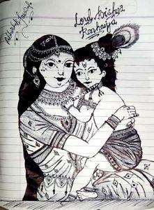 Loving mother Yashoda with cute Kris