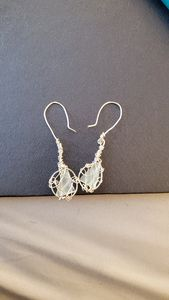 Beach glass triangle wrapped earring