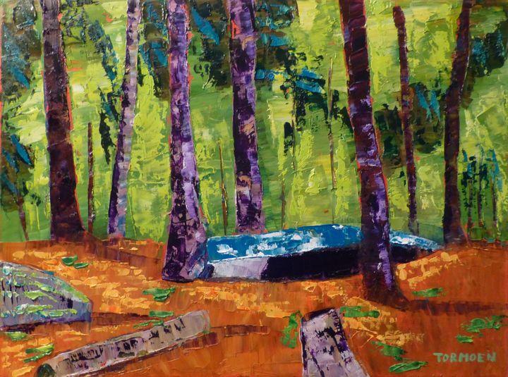 Blue Boat with Stump - Susan Tormoen