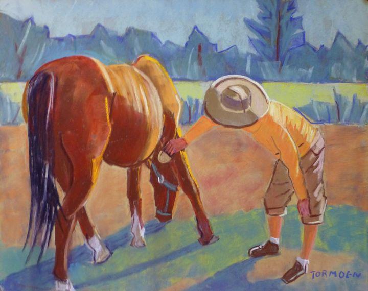 Lisa Grooming her Old Horse - Susan Tormoen