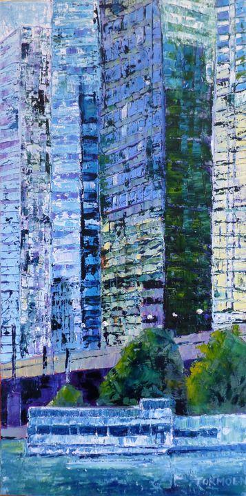Street Lights on Chicago River - Susan Tormoen