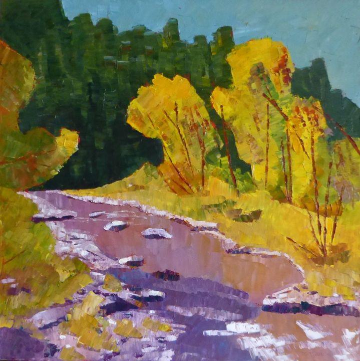 Yellow Trees by Purple River - Susan Tormoen