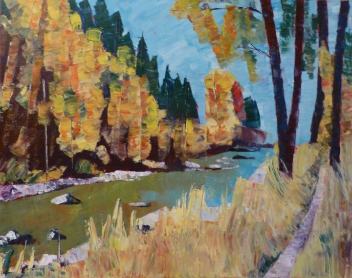 Aspen with River and Path - Susan Tormoen