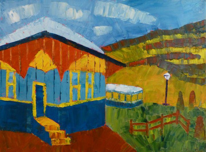 Lamppost with Depot - Susan Tormoen