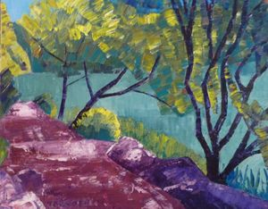 Purple Path near a Pond