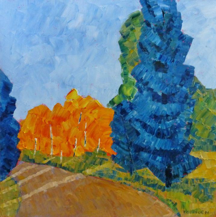Blue Tree with Aspen - Susan Tormoen