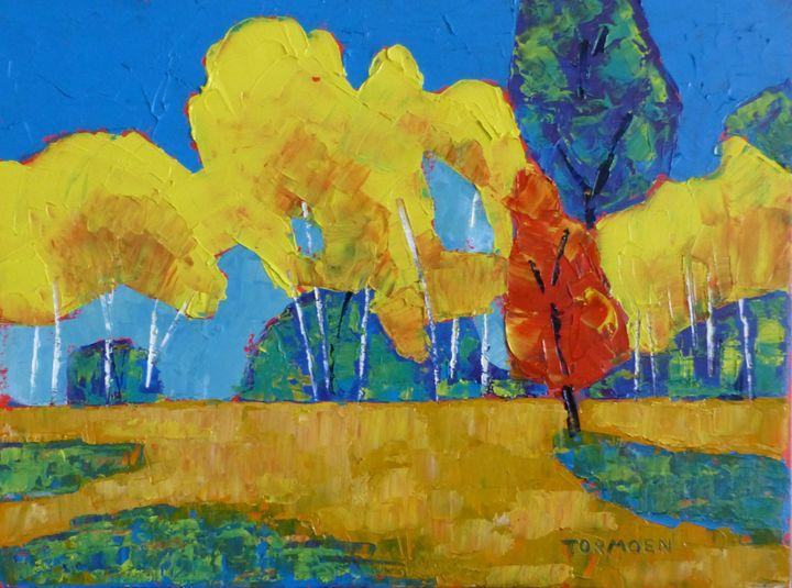Aspen with Red Tree - Susan Tormoen