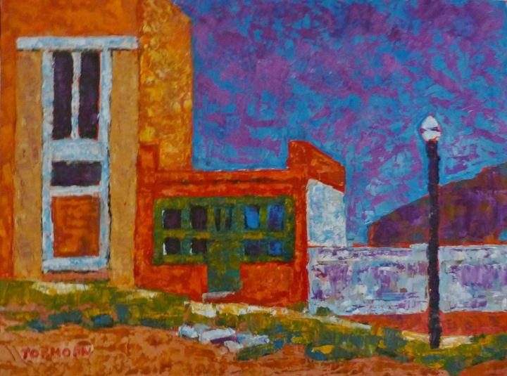 Red Building with lampost - Susan Tormoen