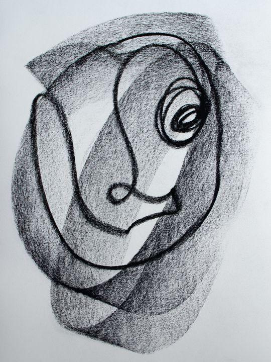 Shaded Charcoal Single Line Drawing - TArt