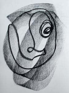 Shaded Charcoal Single Line Drawing