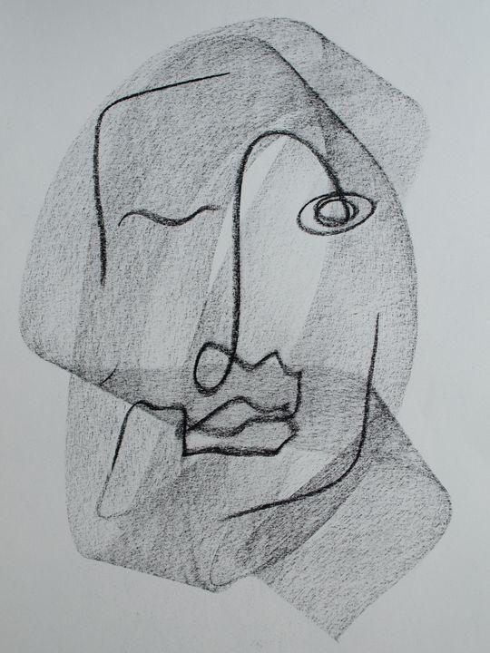 Pascal Charcoal Single Line Drawing - TArt