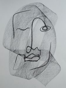 Pascal Charcoal Single Line Drawing