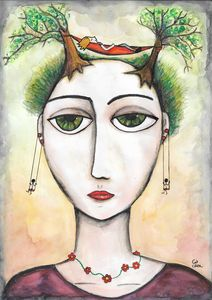 Woman with trees on head