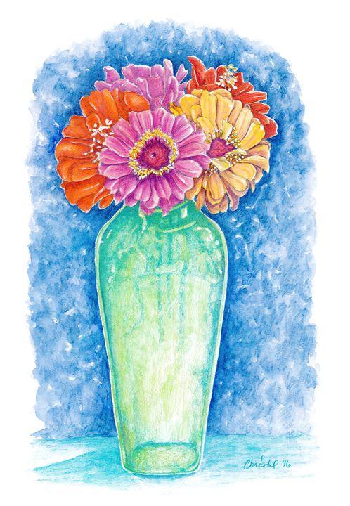 Zinnias in a Green Vase - Christel Huttar
