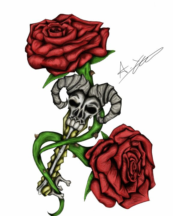 skeleton key and roses - Andys Awesome Art