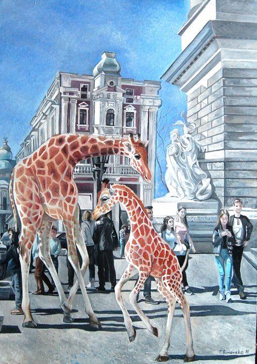 Dance of little giraffes. - Tatyana Binovska Art