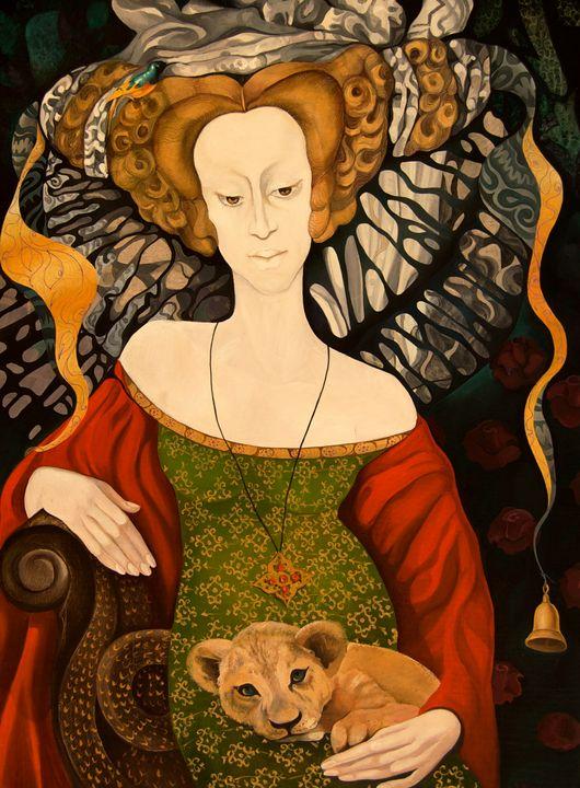 Lady and Cat - Tatyana Binovska Art