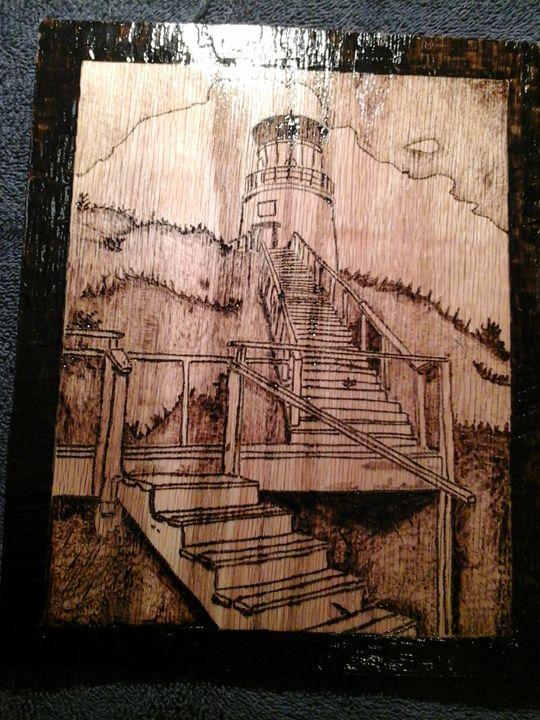 Light House On Oak - Wood Impressions