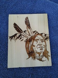 Wood Burnt Indian Head