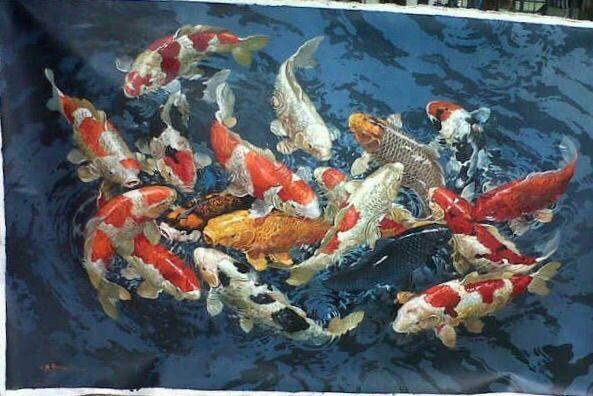 Romancing Koi by Sumantri - Indonesian Collector Art