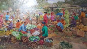 Traditional Market by Moejiono - Indonesian Collector Art