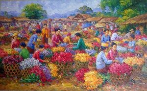 Alluring Flower Market by Asep Leoka - Indonesian Collector Art